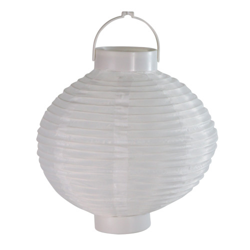 "Set of 3 Battery Operated LED Lighted White Fabric Outdoor Garden Patio Chinese Lanterns 8"" - IMAGE 1"