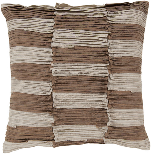"22"" Brown and Taupe Striped Square Throw Pillow - Down Filler - IMAGE 1"