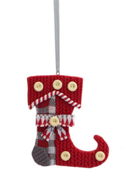 """3.5"""" Alpine Chic Red, White and Gray Knit Style Stocking Christmas Ornament - IMAGE 1"""