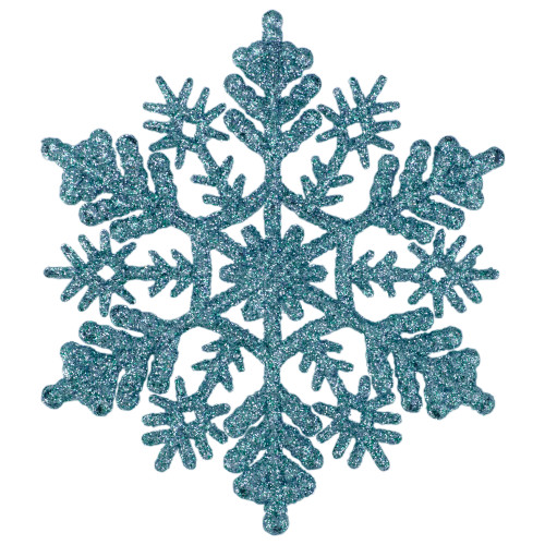 "24ct Turquoise Blue Glitter Snowflake Christmas Ornaments 4"" - IMAGE 1"