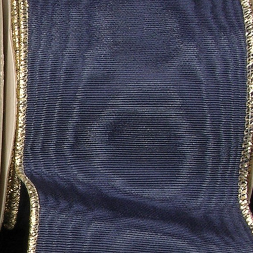 """Navy Blue Symphony Edge Wired Craft Ribbons 3"""" x 22 Yards - IMAGE 1"""