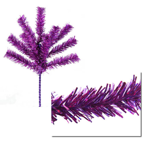 "7"" Purple Sparkling Tinsel Artificial Christmas Craft Pick - IMAGE 1"