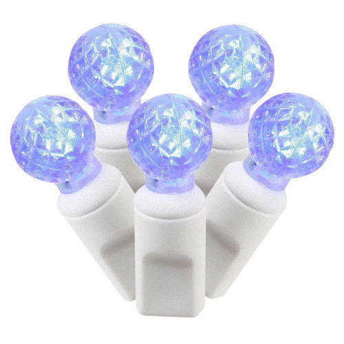 50 Blue Commercial Grade LED G12 Berry Mini Christmas Lights, 24 ft White Wire - IMAGE 1