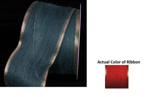 """Red and Gold Edge Wired Craft Ribbon 3"""" x 20 Yards - IMAGE 1"""