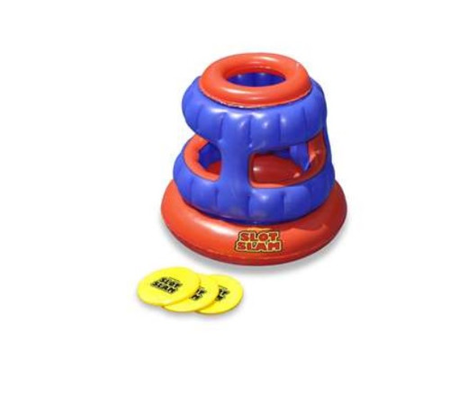 """30"""" Orange and Blue Inflatable Slot Slam Floating Foam Disc Target Toss Swimming Pool Game - IMAGE 1"""