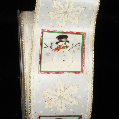 """White and Green Snowman Wired Craft Ribbon 2.5"""" x 40 Yards - IMAGE 1"""