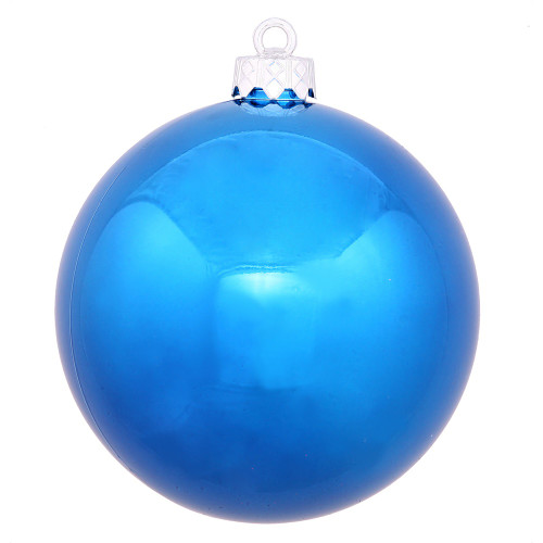 """Shiny Blue Shatterproof UV Resistant Commercial Drilled Christmas Ball Ornament 8"""" (200mm) - IMAGE 1"""