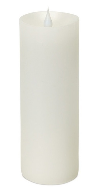 """7"""" White Pre-Lit LED Pillar Candle with Moving Flame - IMAGE 1"""
