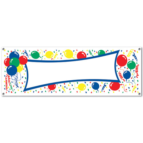 """Club Pack of 12 Multi-Color Traditional Balloon with Confetti Banners 60"""" - IMAGE 1"""