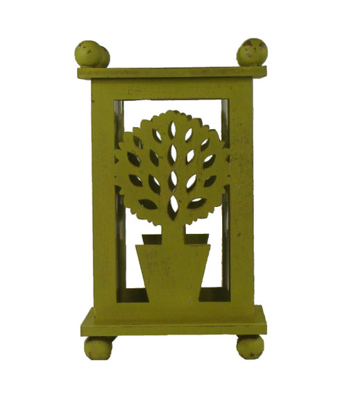 """12.5"""" Pistachio Green Distressed Large Ball Tree Cut-Out Pillar Candle Lantern - IMAGE 1"""