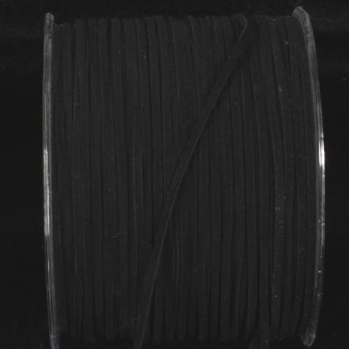 "Black Faux Leather Ribbon Cord 0.25"" x 440 Yards - IMAGE 1"