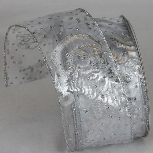 "Metallic Silver Saint Nicholas Sheer Wired Craft Ribbon 2.5"" x 20 Yards - IMAGE 1"