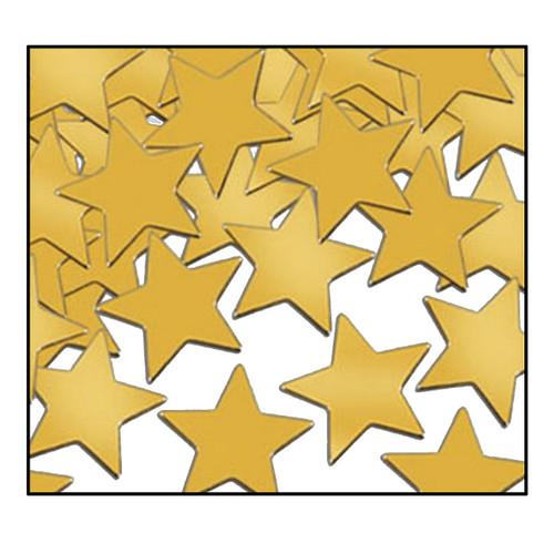Club Pack of 12 Gold Fanci-Fetti Star Celebration Confetti Bags 1 oz. - IMAGE 1