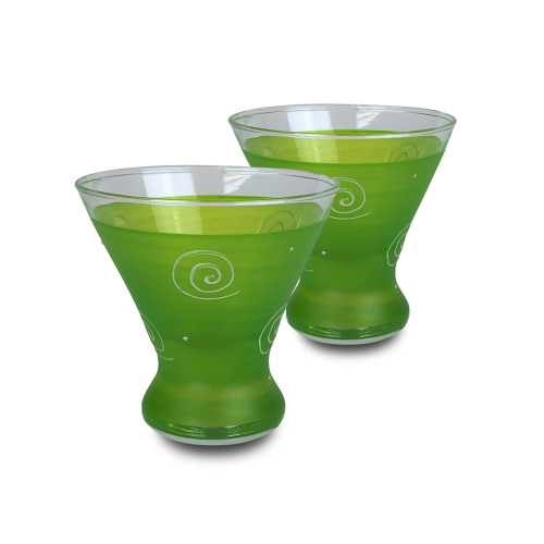 Set of 2 Green and White Contemporary Cosmopolitan Wine Glasses 8.25 oz. - IMAGE 1