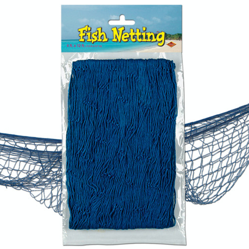 Club Pack of 12 Blue Under the Sea Fish Netting Hanging Party Decors 12' - IMAGE 1