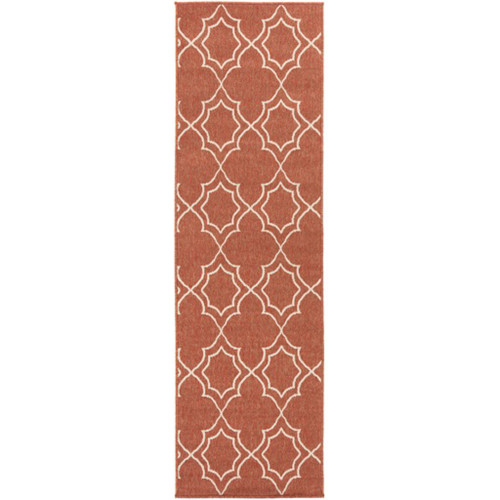 2.25' x 11.75' Red and White Contemporary Rectangular Area Throw Rug Runner - IMAGE 1
