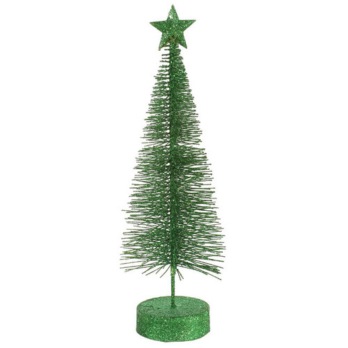 """Pack of 2 Green Pencil Glitter Artificial Table Top Christmas Trees 12"""" - IMAGE 1"""