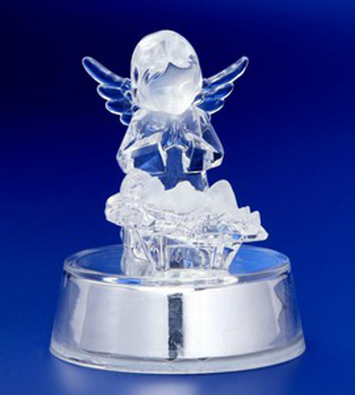 """Set of 6 Icy Clear Decorative Christmas Angel Watching Over Jesus Figurines 4"""" - IMAGE 1"""