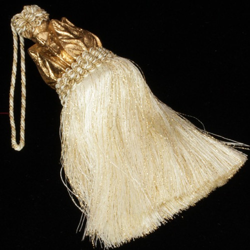 """Pack of 6 Gold Decorative Metallic Cumberland Tassels with Resin Head 6"""" - IMAGE 1"""