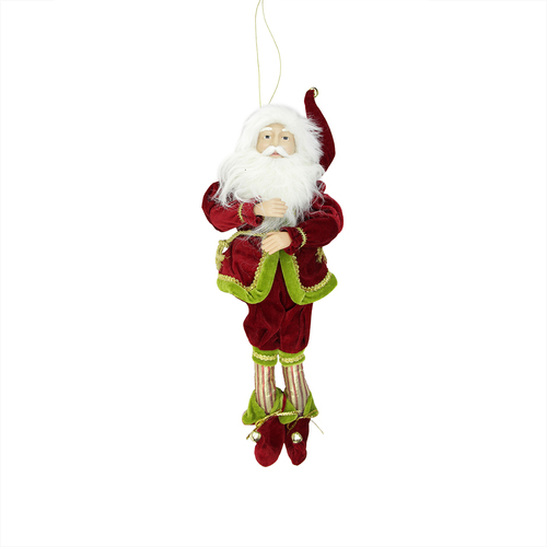 """18"""" Red and Green Poseable Whimsical Christmas Elf Monarch Figure - IMAGE 1"""