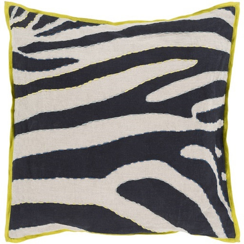 """18"""" Lime Green and Beige Zebra Print Square Throw Pillow - Down Filler - IMAGE 1"""