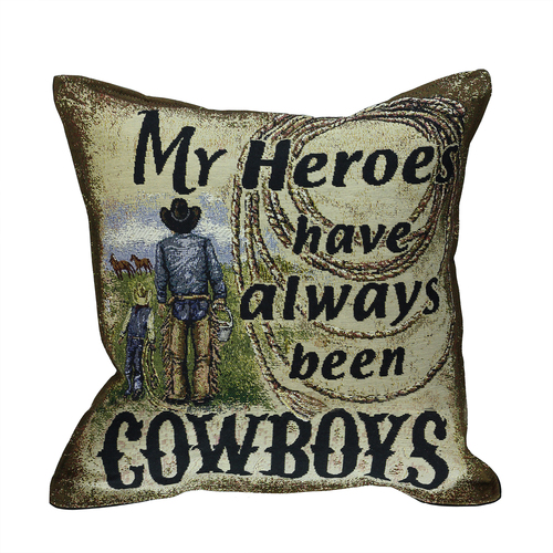 """17"""" Green and Black 'My Heroes Have Always Been Cowboys' Square Throw Pillow - IMAGE 1"""