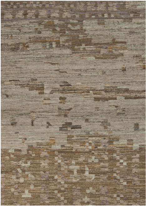 2.5' x 8' Country Rustic Beige and Yellow Rectangular Wool Area Throw Rug Runner - IMAGE 1