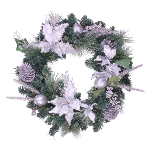 White Poinsettia and Pine Cone Artificial Christmas Wreath - 24-Inch, Unlit - IMAGE 1