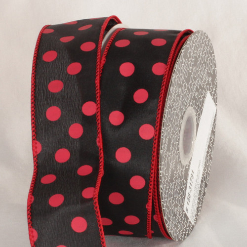 """Black and Burgundy Red Polka Dots Printed Wired Craft Ribbon 1.5"""" x 40 Yards - IMAGE 1"""
