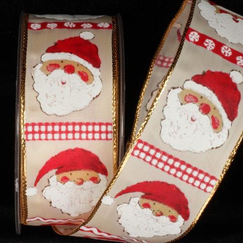 "Beige and White Christmas Taffeta Wired Craft Ribbon 1.5"" x 27 Yards - IMAGE 1"