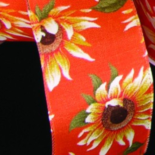 """Orange and Yellow Sunflower Meadow Print Wired Craft Ribbon 2.5"""" x 20 Yards - IMAGE 1"""