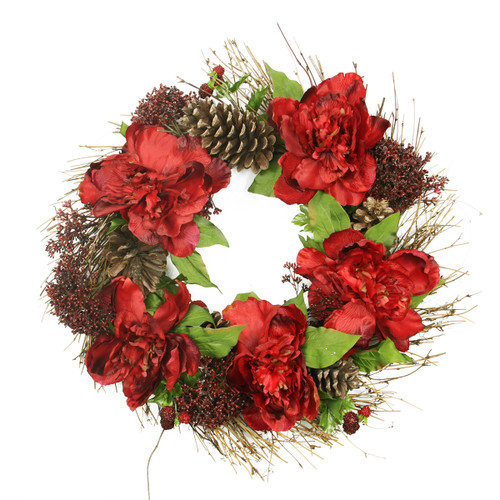 Peony Floral Artificial Christmas Wreath - 24-Inch, Unlit - IMAGE 1