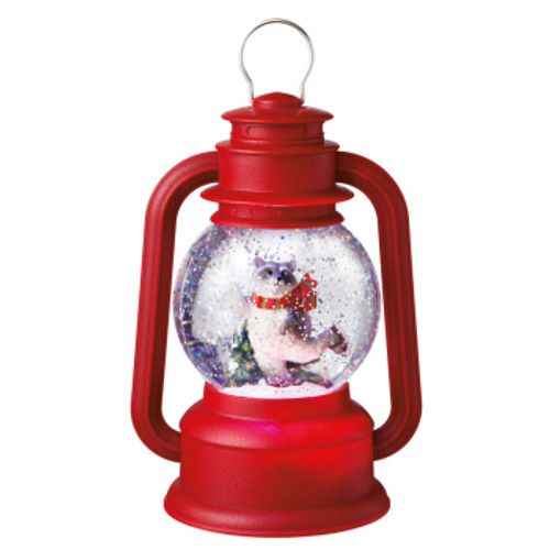 """Raccoon on Ice Red Lighted Glittering Snow Dome Lantern Table Top Christmas Decoration 9.5"""" - IMAGE 1"""
