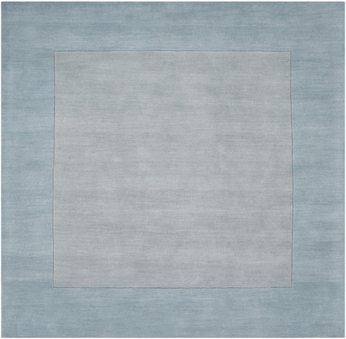 9.75' x 9.75' Solid Pale Blue and Gray Hand Loomed Square Wool Area Throw Rug - IMAGE 1
