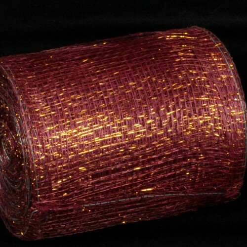 "Wine Red and Gold Wired Sinamay Abaca Fiber Ribbon 5"" x 32 Yards - IMAGE 1"