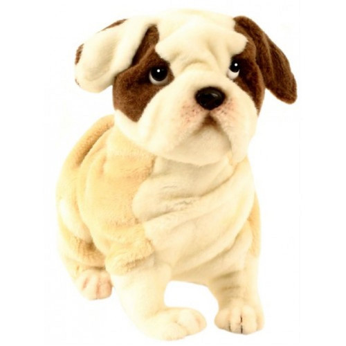 """Set of 2 Ivory and Brown Handcrafted Soft Plush Bulldog Stuffed Animals 10.5"""" - IMAGE 1"""