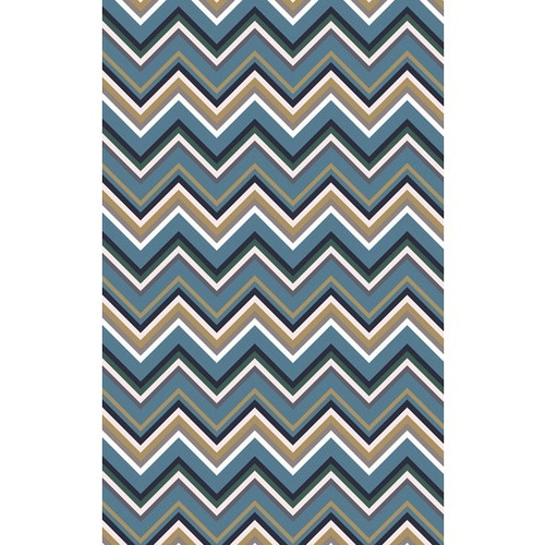 8' x 11' Cascading Peaks Tan White and Navy Blue Hand Woven Wool Area Throw Rug - IMAGE 1