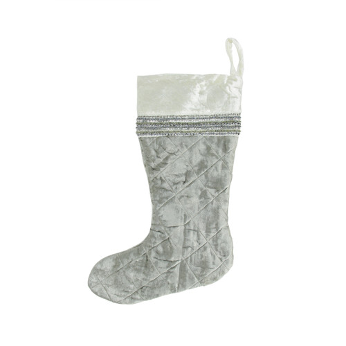 """17"""" Gray and White Quilted Embellished Christmas Stocking - IMAGE 1"""
