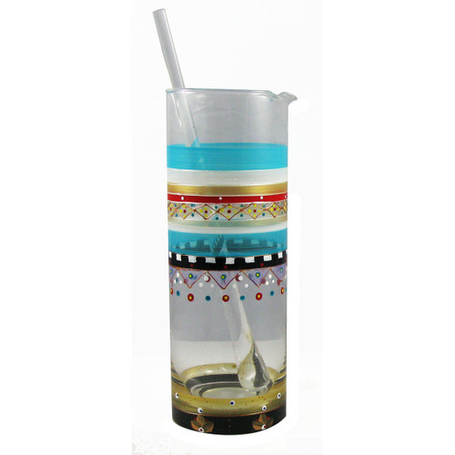 """9"""" Clear and Blue Mosaic Carnival Confetti Hand Painted Martini Pitcher with Stirring Rod - IMAGE 1"""