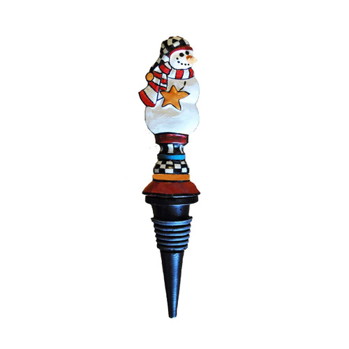 """Set of 2 White and Blue Whimsical Snowman Bottle Stoppers 7"""" - IMAGE 1"""