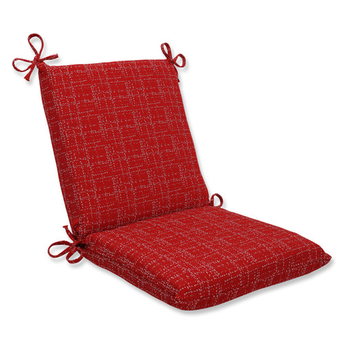 """36.5"""" Red Dashed Lines Outdoor Patio Squared Chair Cushion - IMAGE 1"""