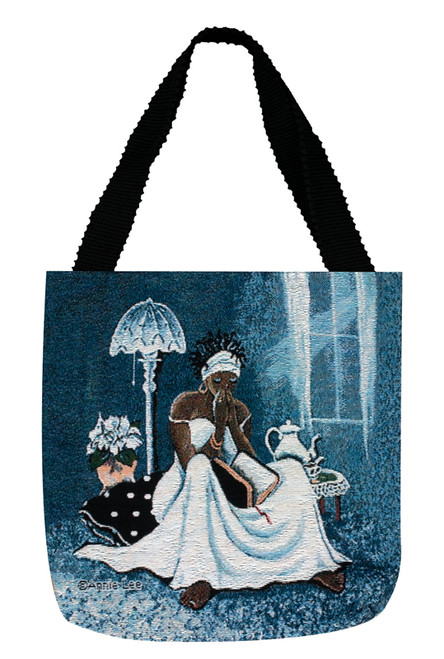 """17"""" Blue and White Inspirational Annie Lee Women Reading a Bible Tote Bag - IMAGE 1"""