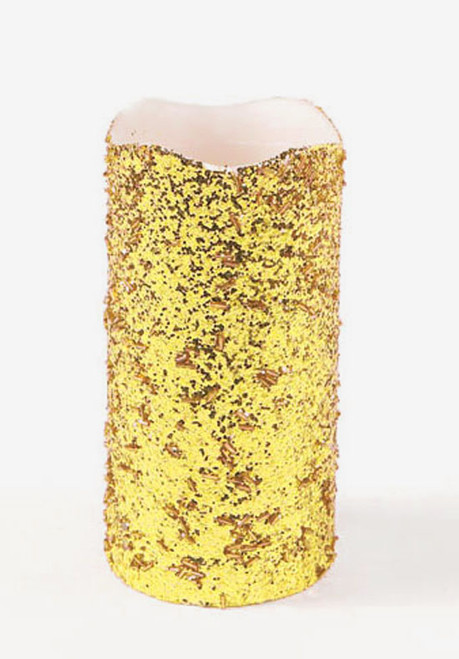 "8"" Gold Glittered Battery Operated Flameless LED Wax Christmas Pillar Candle - IMAGE 1"