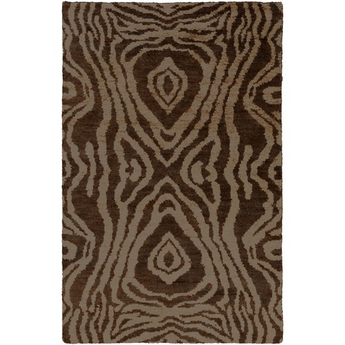 5' x 8' Ash Gray and Creamy Brown Contemporary Rectangular Hand Knotted Area Throw Rug - IMAGE 1