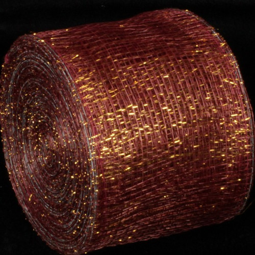 """Wine Red and Gold Wired Sinamay Abaca Fiber Ribbon 3"""" x 64 Yards - IMAGE 1"""
