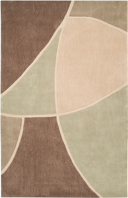 5' x 8' Triantan Brown and Olive Green Hand Tufted Rectangular Polyester Area Throw Rug - IMAGE 1