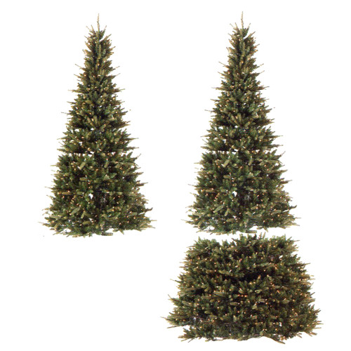 7.5' Pre-Lit Full Green Extend-A-Tree Adjustable Artificial Christmas Tree - Clear Lights - IMAGE 1