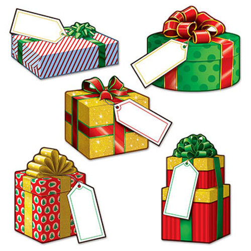 "Club Pack of 240 Multi-Color Mini Christmas Gift Box Cutouts 5"" - IMAGE 1"