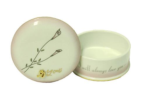 "50th Wedding Anniversary ""I Will Always Love You"" Porcelain Keepsake Box #11087 - IMAGE 1"