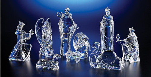 """Set of 2 Clear Icy Religious Christmas Nativity Figurines 9"""" - IMAGE 1"""